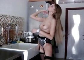 Blonde Slut Masturbating In High Heels And Sexy Lingerie