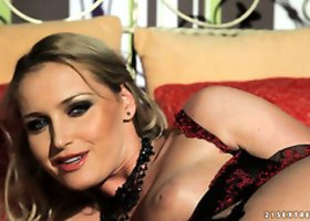 Extremely hot blonde hoe Kathia Nobili  plays with a dildo