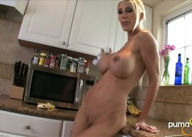 Wild and voracious busty blondie uses banana to fuck her wet pussy