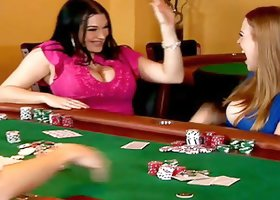 Busty brunette and blonde get fucked after a poker game