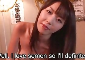 Subtitles Marica Hase blowjob with gokkun in POV