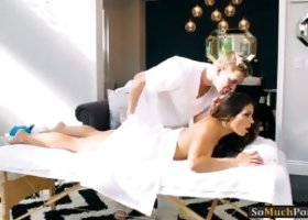 Kinky babe Adriana Chechik body massage and gets her tight asshole rammed by her horny masseur on massage table