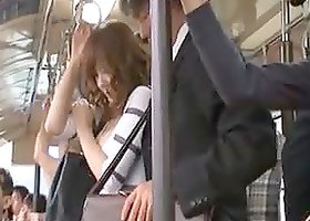 Pervert Asian Lifting a Hot Babe's Mini Dress in the Bus